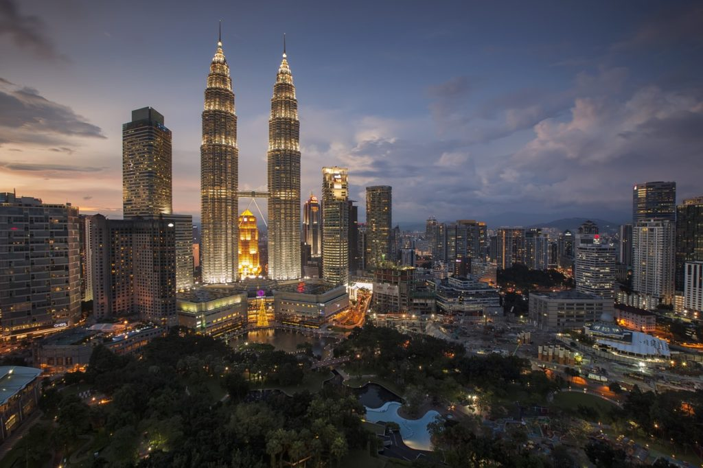 Malaysia at night with beautiful skyscrapers